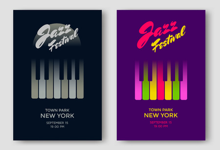 Jazz music festival poster design template. Piano keys. illustration placard for jazz concert.