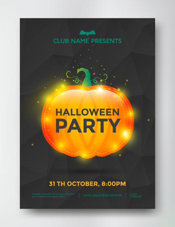 besom: Halloween party poster with shiny pumpkin. illustration