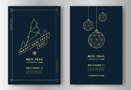 New Year greeting card design with stylized christmas ball and christmas tree. Vector illustration