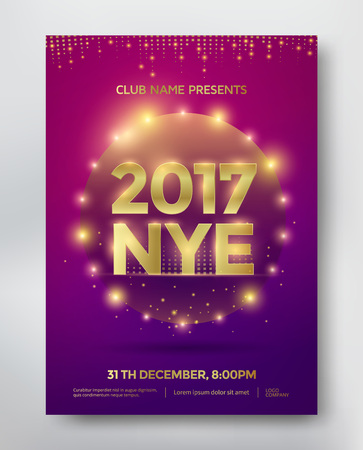 nye: NYE, New Year Eve template flyer or invitation design. Vector Illustration