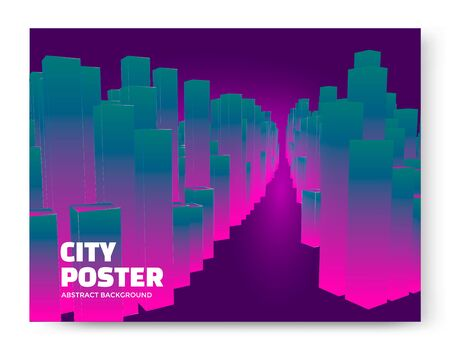 luminescent: Luminescent city background. Cityscape abstract poster. Vector Illustration