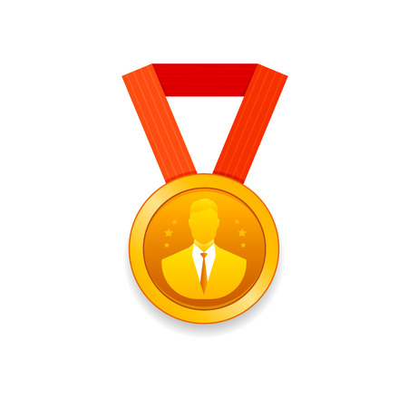 Award for achievements. Gold medal with man silhouette. Vector illustration