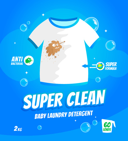 Package design template for baby laundry detergent. T-shirt with dirt stains character.Vector illustration