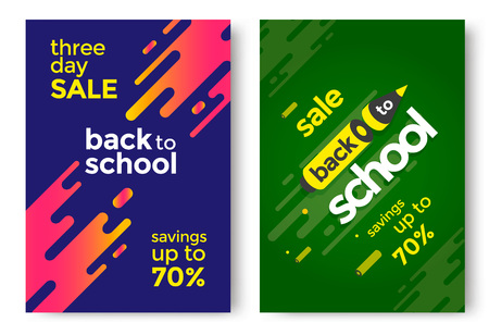 Back to School sale poster design template. Vector illustration