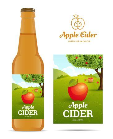 sticker design: Design sticker bottle of apple cider. Vector illustration apple orchard for package.