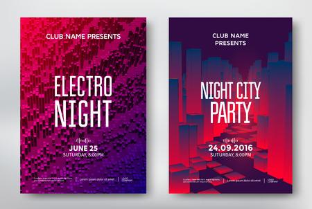 Abstracte nacht partij posters