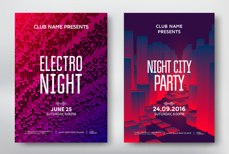 Abstract night party posters