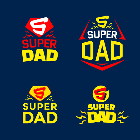 Super Dad emblems Illustration