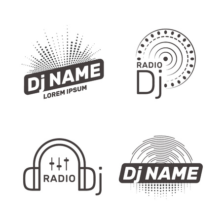 DJ vector label Illustration