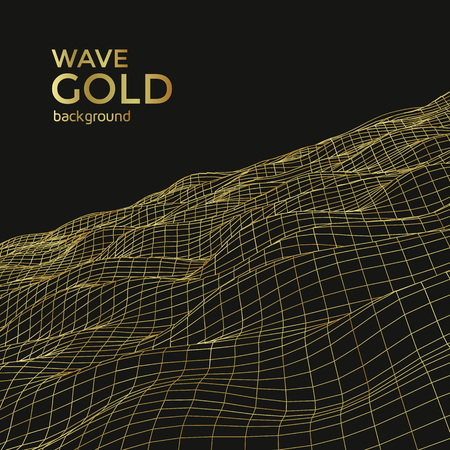 Wireframe gold wave