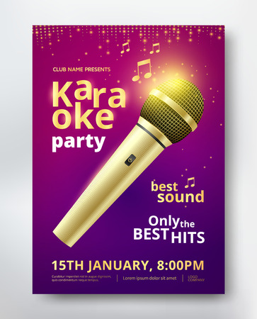 Karaoke feest poster Stock Illustratie