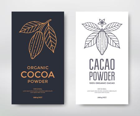 Kakao Verpackung Design Vorlage. Linie Stil Illustration. Kakaopulver Standard-Bild - 81069578
