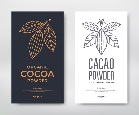 Cocoa packaging design template. Line style illustration. Cacao powder