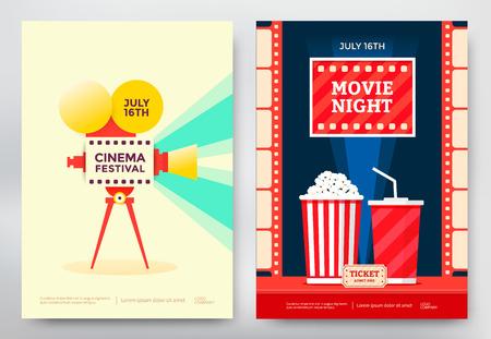 시네마 축제 및 영화 밤 포스터 템플릿입니다. 벡터 일러스트 레이 션