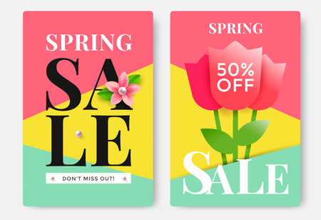 Spring Sale poster design with tulips. Vector illustration.