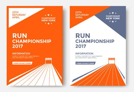 Funcione la plantilla del diseño del cartel del campeonato. Corriendo el volante del vector del maratón. Línea de meta