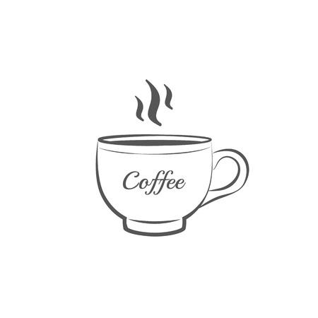 커피 컵 아이콘 또는 로그인 라인 벡터 일러스트 레이 션