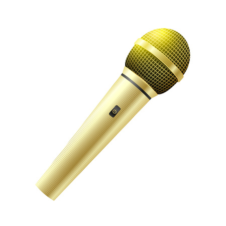 Karaoke golden microphone isolated on white background.