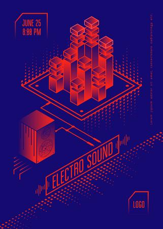 Electro geluid muziek poster