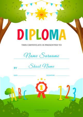 Modello di diploma dei bambini Archivio Fotografico - 87279651