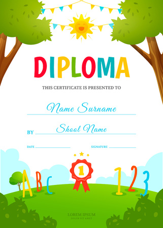 Kids diploma template Illustration