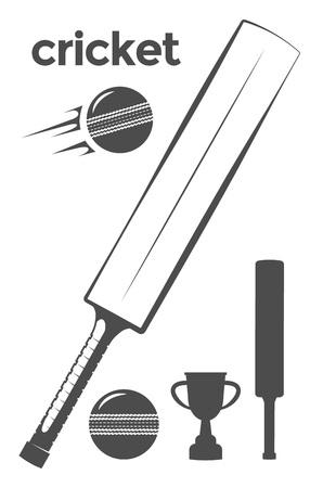 クリケット用品一式  イラスト・ベクター素材