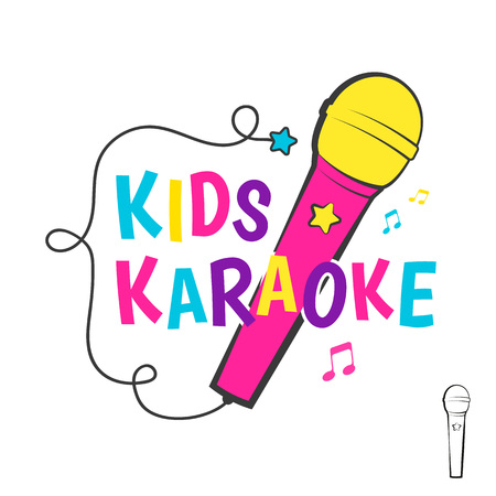 voices: Kids karaoke emblem with microphone.