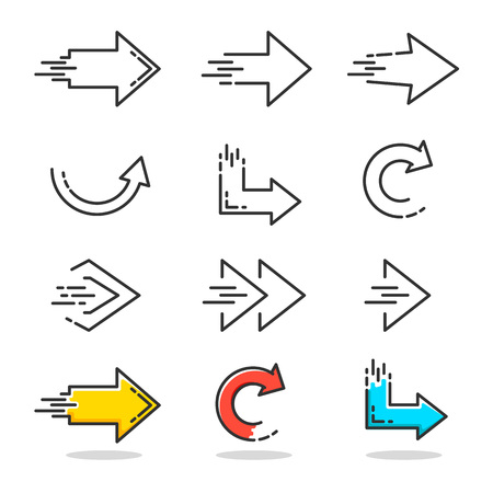Arrows icons set in linear style design. Vector graphic illustration Çizim