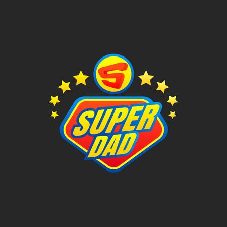 Emblema de Super Dad. Logotipo de superhéroe. Ilustración vectorial Logos