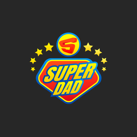 Super Dad emblem. Super hero logo. Vector illustration Illustration
