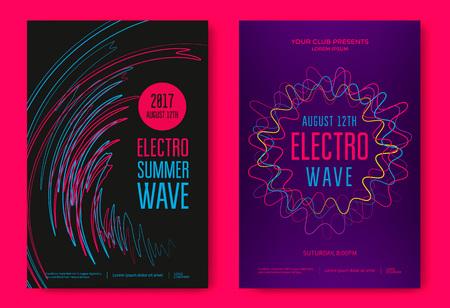 Electro zomer golf muziek poster. Clubmuziekvlieger. Abstract gekleurde golven muziek achtergrond.