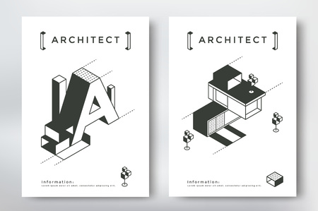 Architecture cover design format template. Poster with isometric building and geometry elements.