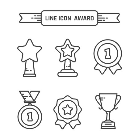 Awards and trophy icons set. Иллюстрация