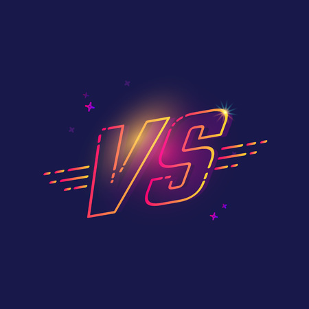 VS text or letters in a neon light style design illustration. Иллюстрация