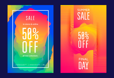 Summer sale poster or flyer template in trendy design vibrant gradient. Illustration