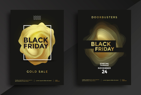 Black Friday sale poster design with abstract golden shape. Vector illustration Stock fotó