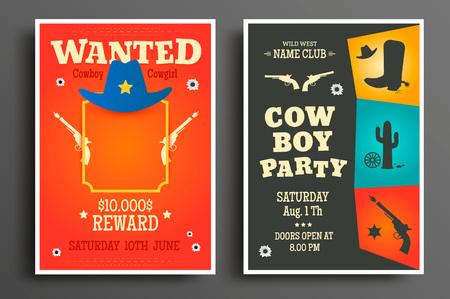 원한 서쪽 포스터와 카우보이 파티 전단지 또는 초대장 템플릿. 벡터 일러스트 레이 션 스톡 콘텐츠
