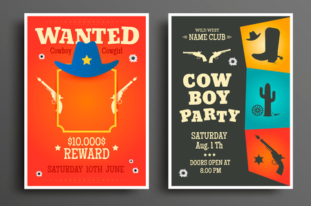 Wanted western poster and Cowboy party flyer or invitation template. Vector illustration Фото со стока - 89310081
