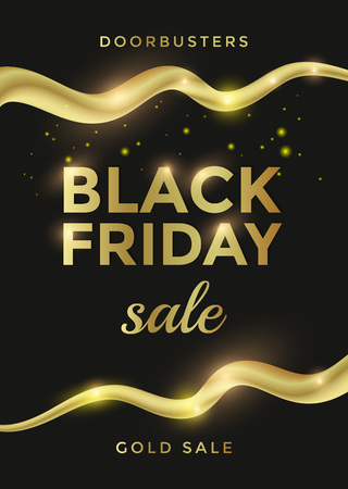 Black Friday sale poster or flyer design with golden text and curl elements. Vector illustration