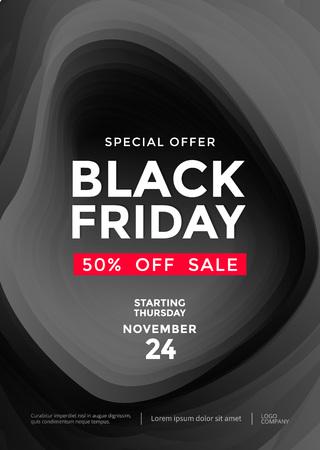 Black Friday sale poster or flyer design template. Vector illustration