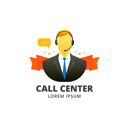 Call center man operator icon or emblem in flat style. Vector illustration