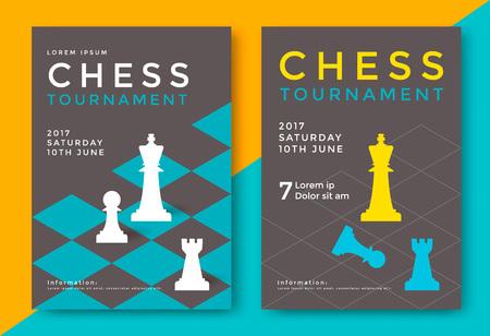 チェストーナメントポスターテンプレート。スポーツゲームベクトルチラシ。