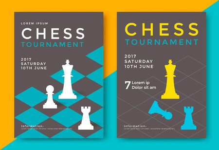 Chess tournament poster template. Sport game vector flyer. Illustration