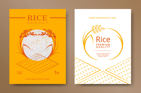 Rice package product design template. Vector illustration Ilustração