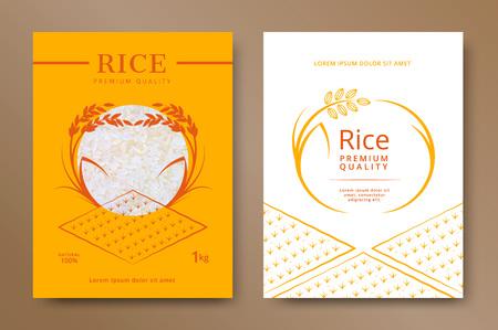 Rijst pakket product ontwerpsjabloon. Vector illustratie