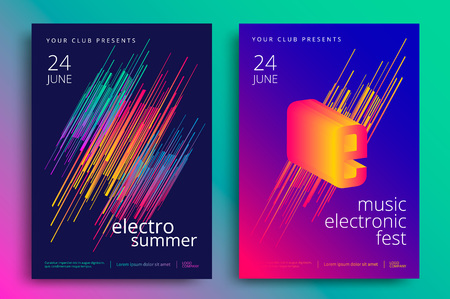 Electronic music fest and electro summer poster. Modern club party flyer. Abstract gradients music background. Vettoriali