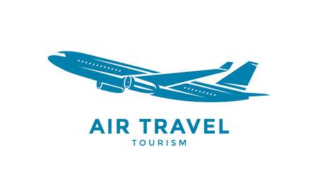 Logo lub godło latającego samolotu. Ikona podróży. Ilustracji wektorowych