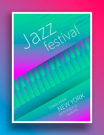 재즈 음악 축제 포스터 디자인 템플릿입니다. 피아노 건반. 벡터 일러스트 레이 션 라운지 재즈 콘서트 전단입니다.