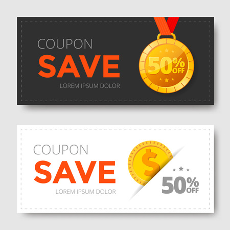 Sale Coupon template with gold medal and monet. Save money. Vector