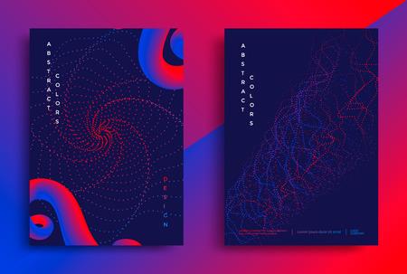 最小限のカバーやポスターデザインテンプレート。鮮やかなグラデーションを持つ抽象的な図形。ベクトルイラスト
